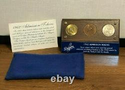 1962 LA Dodgers Angels Stadium Admission Tokens (3) in Display Case MINT NIC COA