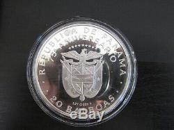 1978 Panama Proof Silver 20 Balboas with Display Case and COA
