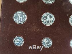 1982 Greece Olympic Silver Proof Commemorative 9 Coin Set in Display Case + COAs