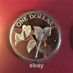 1985 Bahamas 9 coin Proof Set Original Display Case & COA 50% Silver $5 Coin
