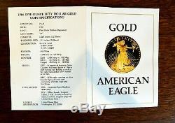 1986 American Eagle Gold $50 1 OZ. Proof US Mint Box Display Case and COA MIB
