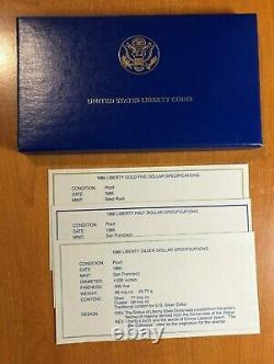 1986 Statue Of Liberty 3 Coin Gold & Silver Proof Set withBox, Display Case, & COA