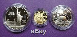 1986 Us Liberty 3 Coin Proof Set Beautiful Coins In Display Case, No Coa