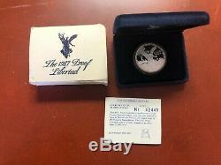 1987 Mexico Silver Proof Libertad (Onza) with Display Case, COA, and Sleeve