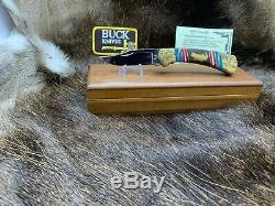 1995 Buck David Yellowhorse 112 Custom Trout Knife Mint In Display Case COA