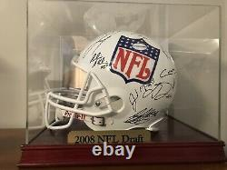 2008 NFL Draft Multi Signed Full Size Helmet 25 Signatures COA with Display Case