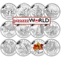 2013 Canada $10 Full O Canada Silver 12-Coin Set with Display Case withCOA Proof