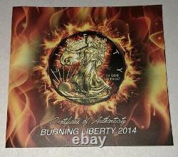 2014 American Silver Eagle Burning Liberty 1oz Silver in Display Case with COA