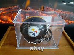 A Lynn Swann Signed Steelers Mini Helmet With Coa & Display Case