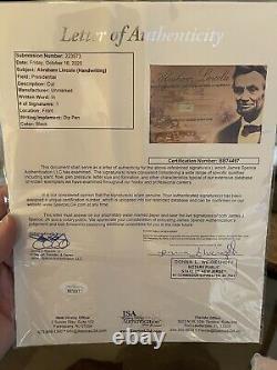 Abraham Lincoln Authentic Hand-Written Word Acrylic Display Case JSA LOA COA