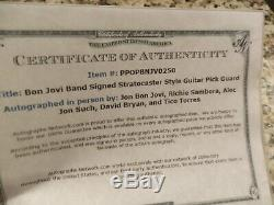 BON JOVI @ BAND SIGNED GUITAR DRUM HEAD WithPICK, DISPLAY CASE WITH COA AWESOME
