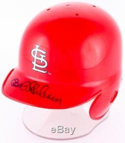 Bob Gibson Signed Cardinals Mini Batting Helmet With Display Case (JSA COA)
