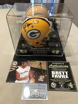 Brett Farve Signed Mini Helmet WithCOA Green Bay Packers Custom Display Case