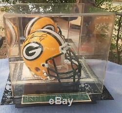 Brett Favre Autographed Mini Helmut With COA And Display Case