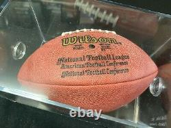 Brett Favre MVP NFL Game Issue Autographed Football and Display Case With COA