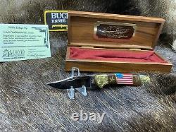 Buck David Yellowhorse 112 Custom Old Glory Knife Mint In Display Case COA