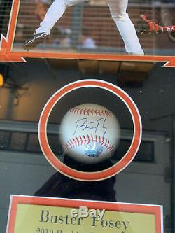 Buster Posey Signed Mlb Baseball In Display Case Coa