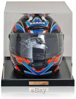 Carl Fogarty Hand Signed Blue Orange Shark Superbike Helmet in Display Case COA
