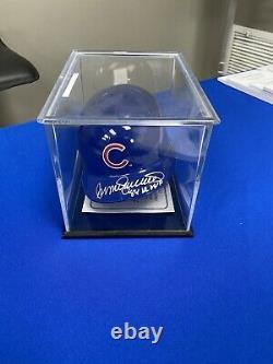 Chicago Cubs Ryne Sandberg Autographed Mini Helmet COA With Display Case