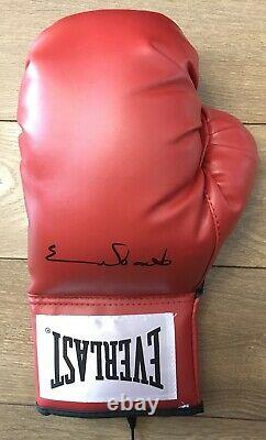 Chris Eubank Snr Hand Signed Red Boxing Glove in Display Case Rare COA AFTAL