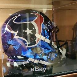 Chromed Deshaun Watson Signed NFL Regulation Size Helmet withCOA and Display Case