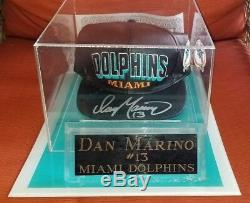 DAN MARINO 13 SIGNED Autographed Black Leather Hat with Case & COA