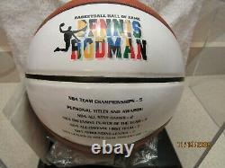 DENNIS RODMAN Signed Spalding Basketball WITH DISPLAY CASE withHOF 2011 SS COA