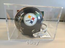 Dwight White Pittsburgh Steelers Signed Mini Helmet Authentic Coa Display Case