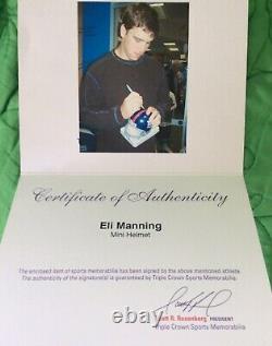 ELI MANNING SUPER BOWL XLVI MVP AUTOGRAPHED MINI HELMET WithCOA & DISPLAY CASE