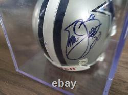EMMITT SMITH Autographed Dallas Cowboys Riddell Mini Helmet-Display Case-No COA