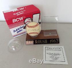Edd Roush signed baseball Topps card BCW display case COA Giants Reds Sox HOF