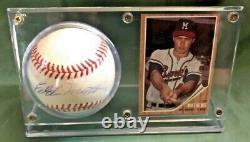 Eddie Mathews Autographed PSA Authenticated Baseball withCard & Display Case COA