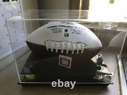 Eli Manning & Justin Tuck Autographed Football In NY Giants Display Case NO COA