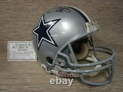 Emmitt Smith Signed Dallas Cowboys Full Size HELMET 3 COA'S VERIFIED DISPLAYCASE