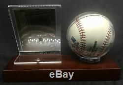 Ernie Banks Chicago Cubs HOF Signed Baseball with Wood Display Case AUTO DJR COA