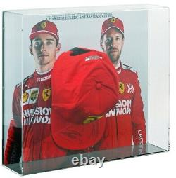 Formula 1 Ferrari Cap Hand Signed by Lelerc & Vettel in display case AFTAL COA