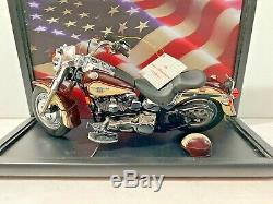 Franklin Mint 1990 HARLEY DAVIDSON Fat Boy FATBOY Motorcycle COA Display case