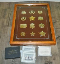 Franklin Mint Official Silver Badges Western Lawmen, with Display Case COA Papers