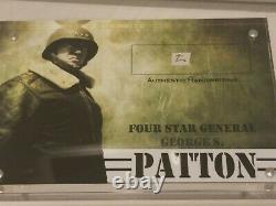 George S Patton Authentic Hand Written Word Cut Acrylic Display Case JSA coa
