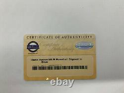 Hank Aaron Signed Baseball Steiner COA & Turner Field Dirt Display Case