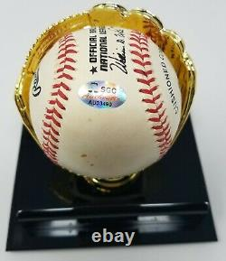 Hank Aaron Signed Rawlings NL Wm. White Baseball SGC COA 490 Display Case