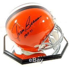 Jim Brown HOF 71 Signed Cleveland Browns Full Size Helmet In Display Case COA