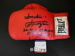 Joe Frazier Autographed Signed Everlast Boxing Glove PSA COA Withfree Display Case