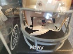 Joe Montana Autographed Mini Helmet With Customized HOF Display Case Beckett COA