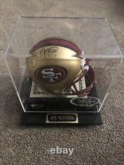Joe Montana Autographed Mini Helmet With Display Case And COA SF 49ers