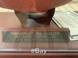 Joe Namath Autographed NFL Football with Display Case and GIA COA