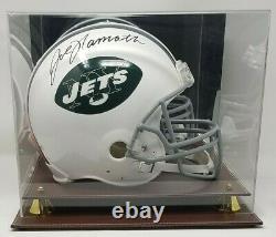 Joe Namath Signed New York Jets TB F/S Authentic Helmet JSA COA 887 Display Case