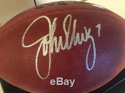 John Elway Denver Broncos Signed Wilson Football / Display Case Steiner COA