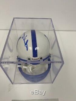 Johnny Unitas Signed Colts Mini Helmet Coa With Display Case