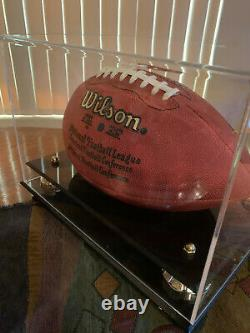 Johnny Unitas signed NFL Football Beckett COA Baltimore Colts with Display Case